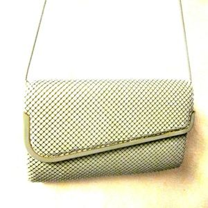 Gray metal mesh dress purse